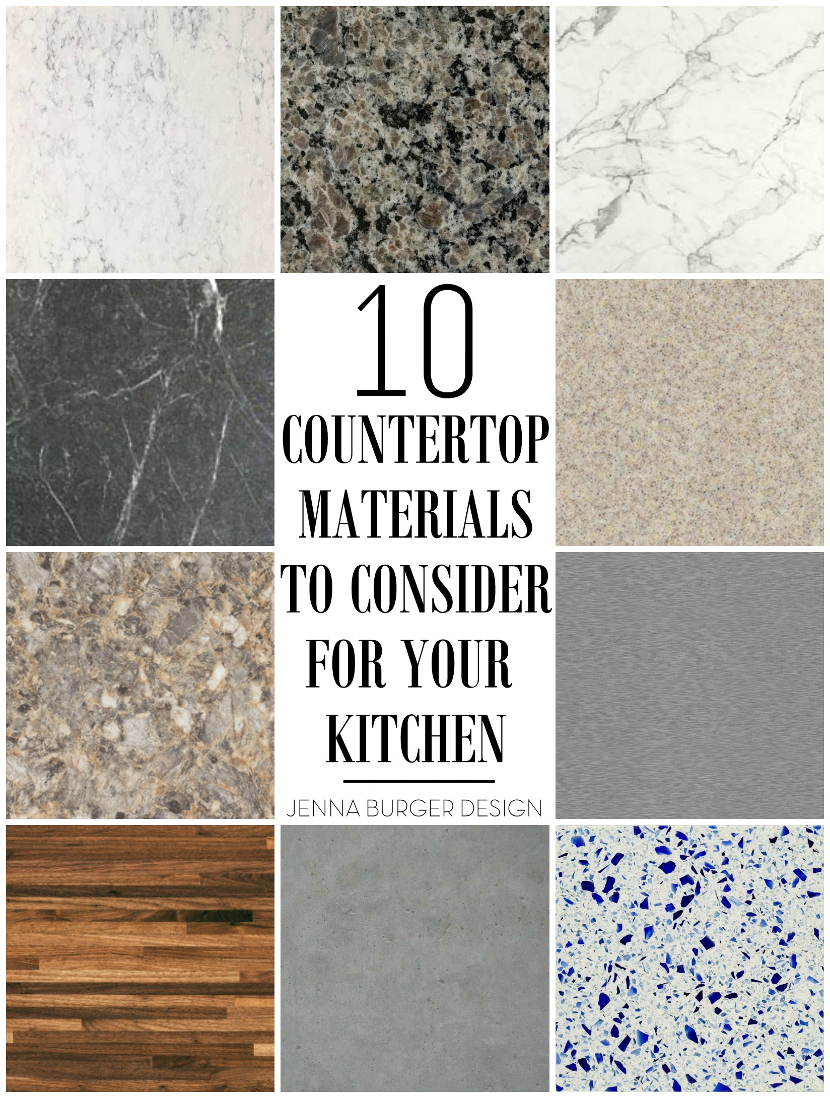 10 Countertop Materials to Consider for your KITCHEN! Round up of material  choices at www