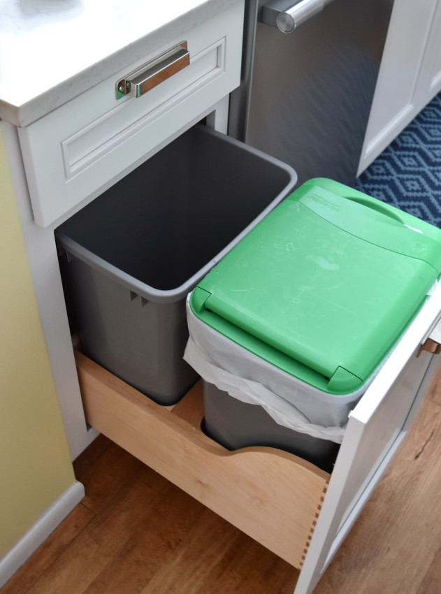 Trash Bin + Recycling Pull Out... no more floating garbage can in the center of the kitchen