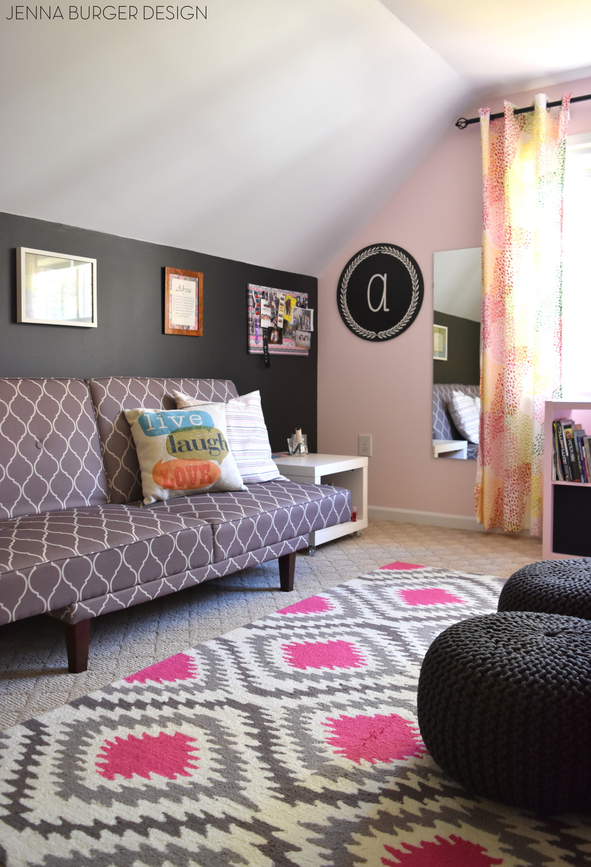 Teen Bedroom Makeover: Splashes Of Pink Mixed With Shades Of Gray + A Pop Of