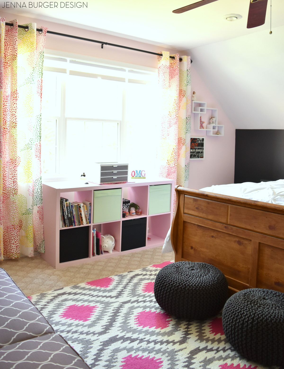 teen bedroom makeover splashes of pink mixed with shades of gray a pop of