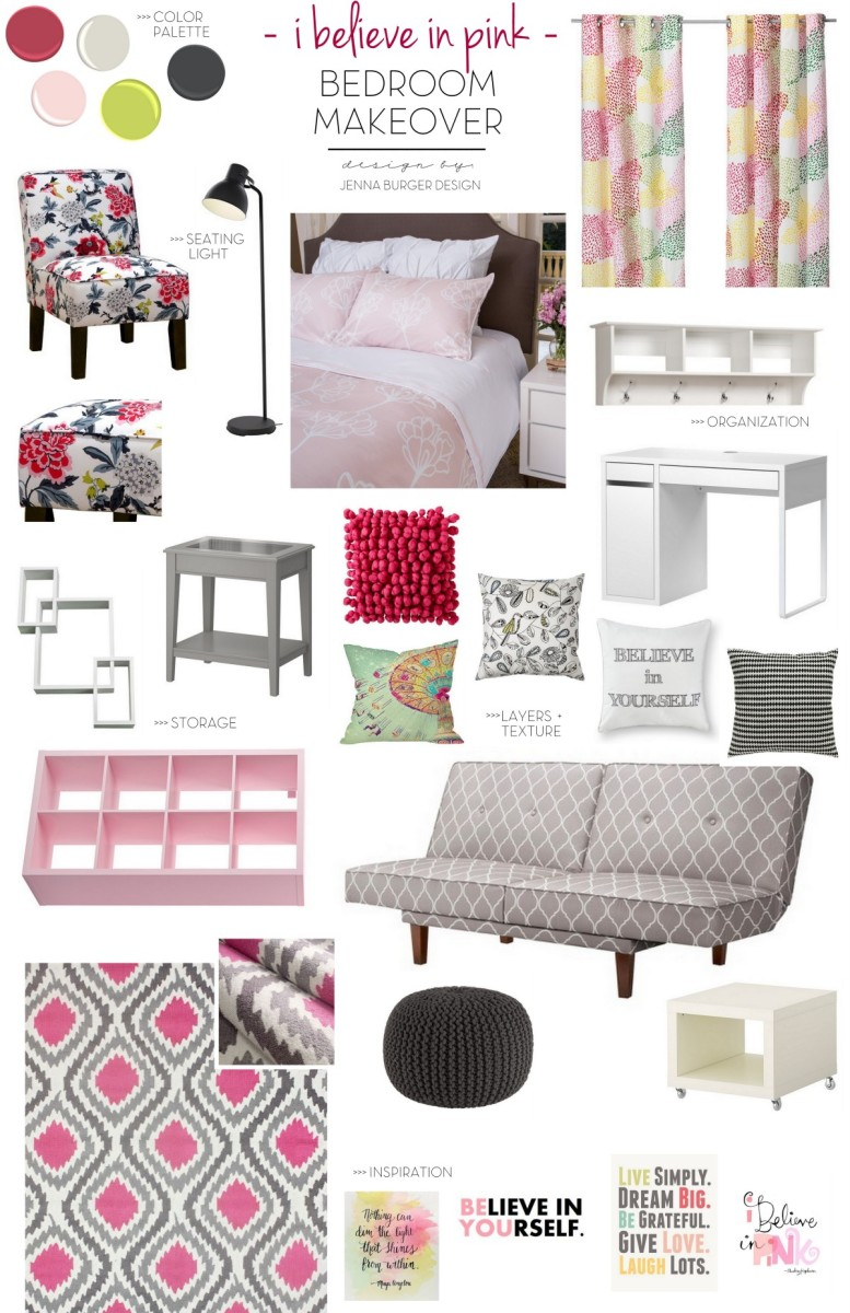 Teen Bedroom Makeover: Splashes of Pink mixed with shades of gray + a pop of citrine. This bedroom revamp was made into a teen hangout oasis. Be inspired by all the storage + new look! Design by www.JennaBurger.com