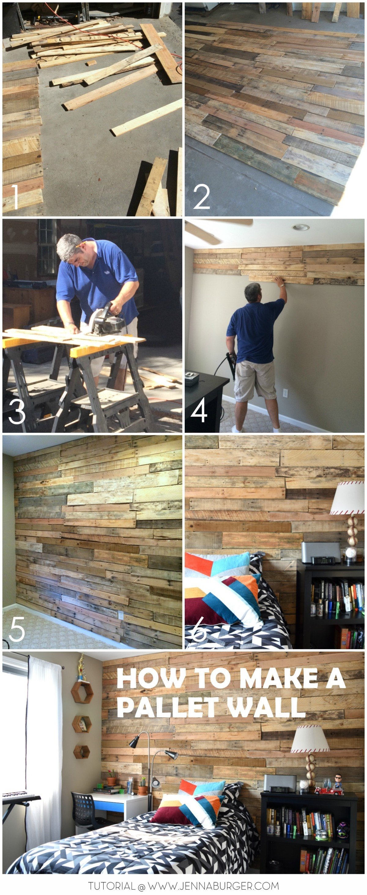 Modern Rustic Teen Room DIY Pallet Wall Tutorial Jenna Burger