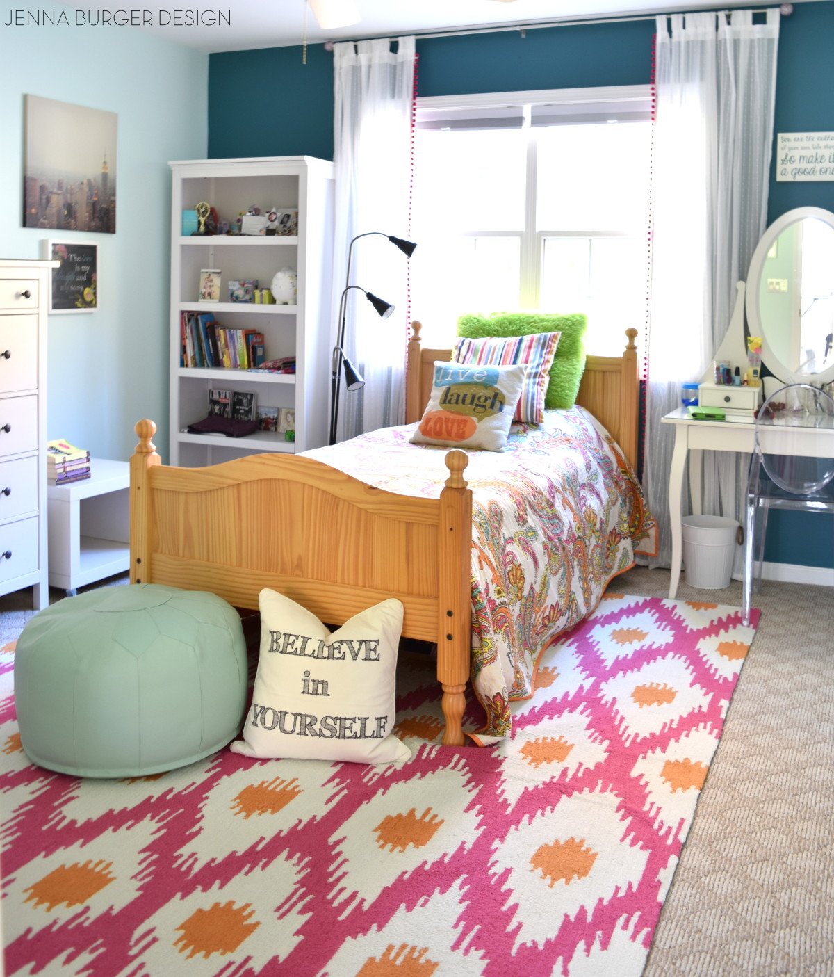 Fuschia + Turquoise Bedroom Makeover - Jenna Burger on Teenage Room  id=18142