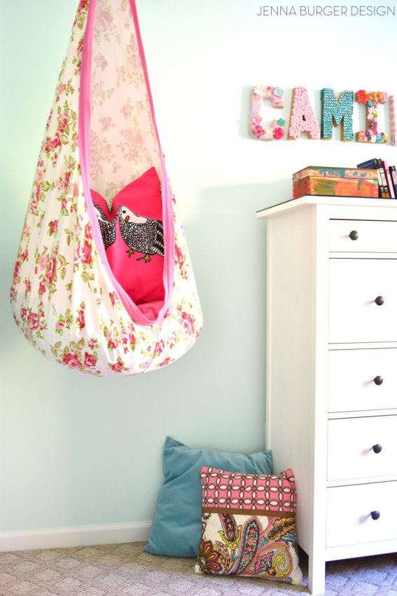 Teen Room Makeover with colors of mint, turquoise, and fuchsia + layers of texture and vibrant patterns. Design by JennaBurger.com