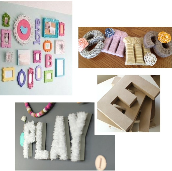 DIY wall art - yarn wrapped letters to spell a word or name! Great idea for a pop of color