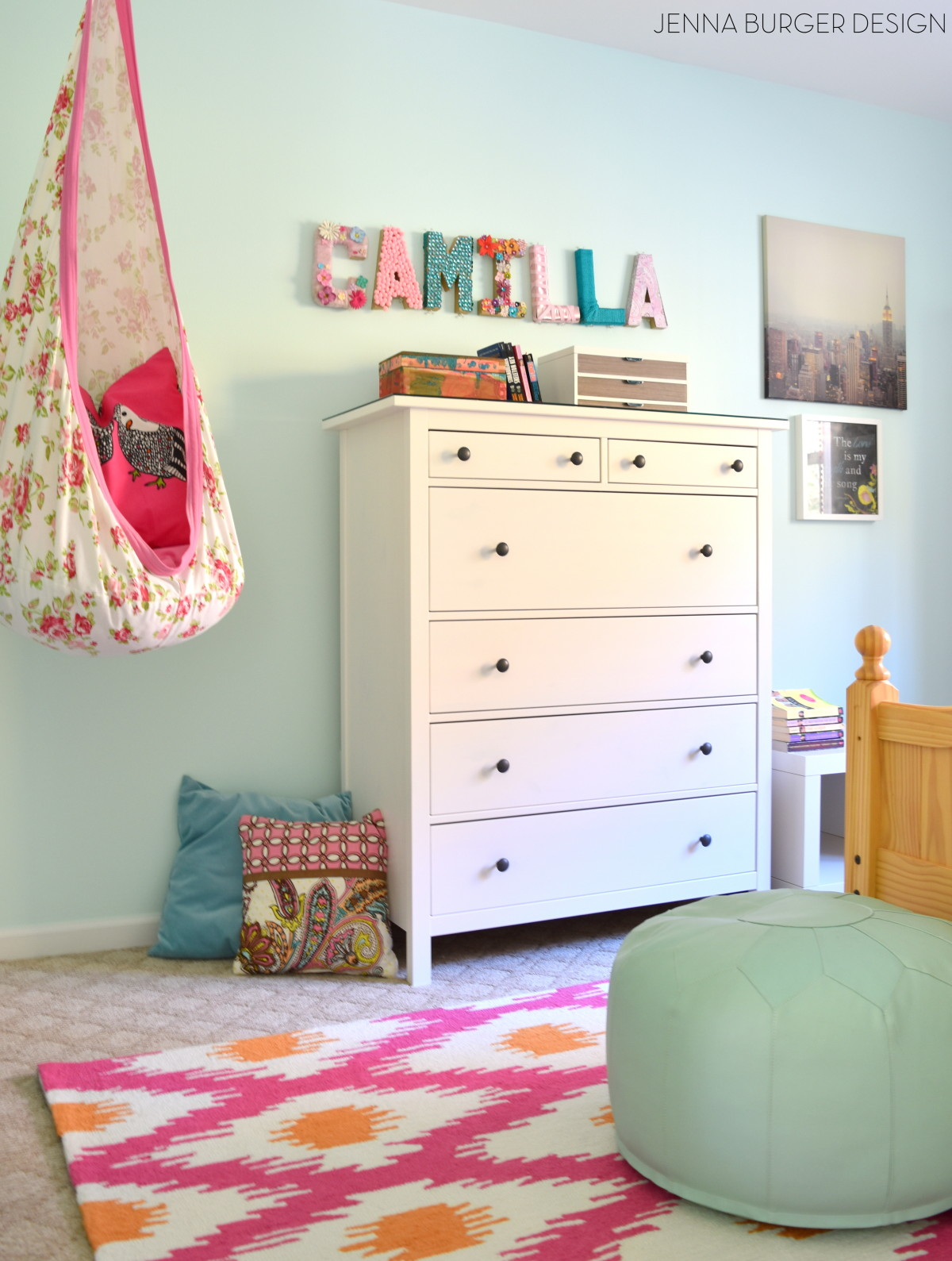 Fuschia turquoise bedroom makeover jenna burger for Bedroom ideas for 8 yr old girl