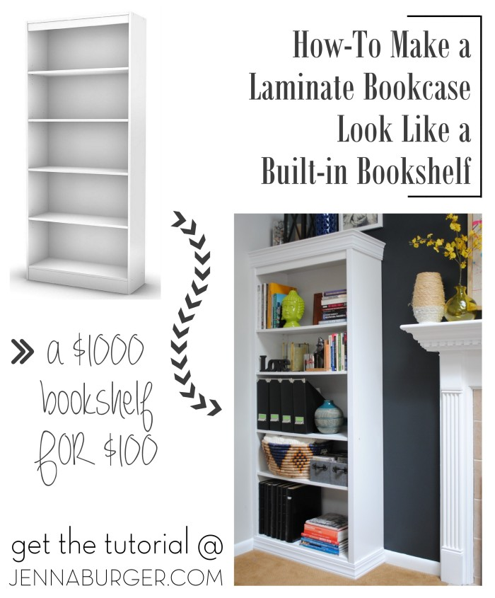 A $1000 bookshelf for $100. How-To DIY a bookcase to look built-in. Tutorial by www.JennaBurger.com
