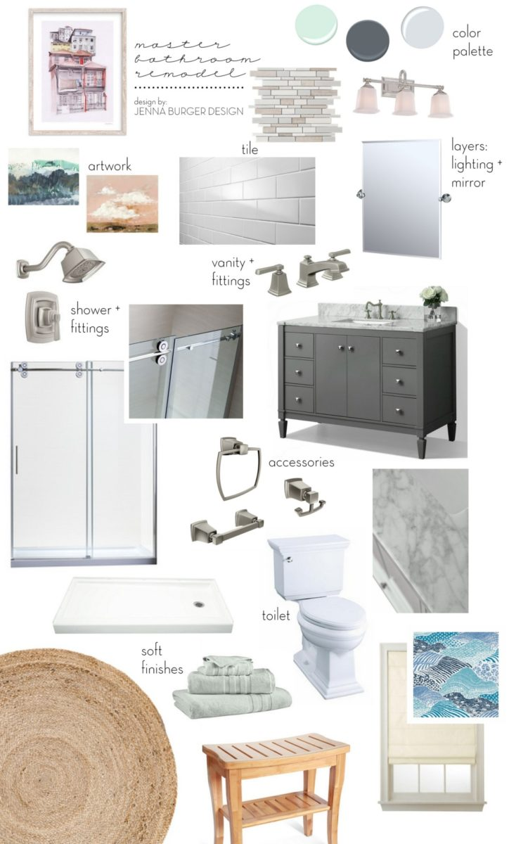 Master Bathroom Renovation mood board - JENNA BURGER DESIGN