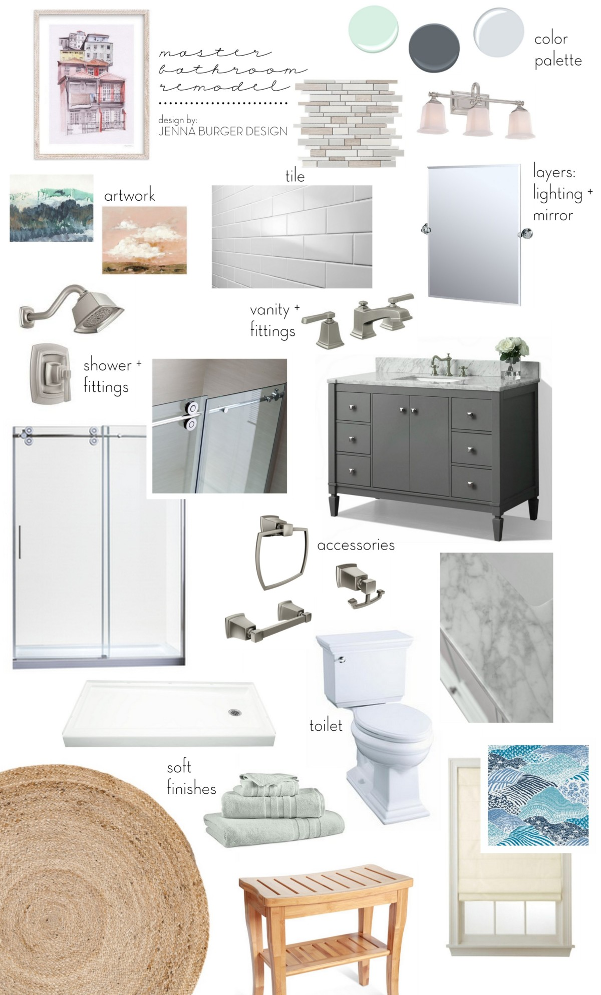 Bathroom Design Board master bathroom renovation: plan + mood board - jenna burger