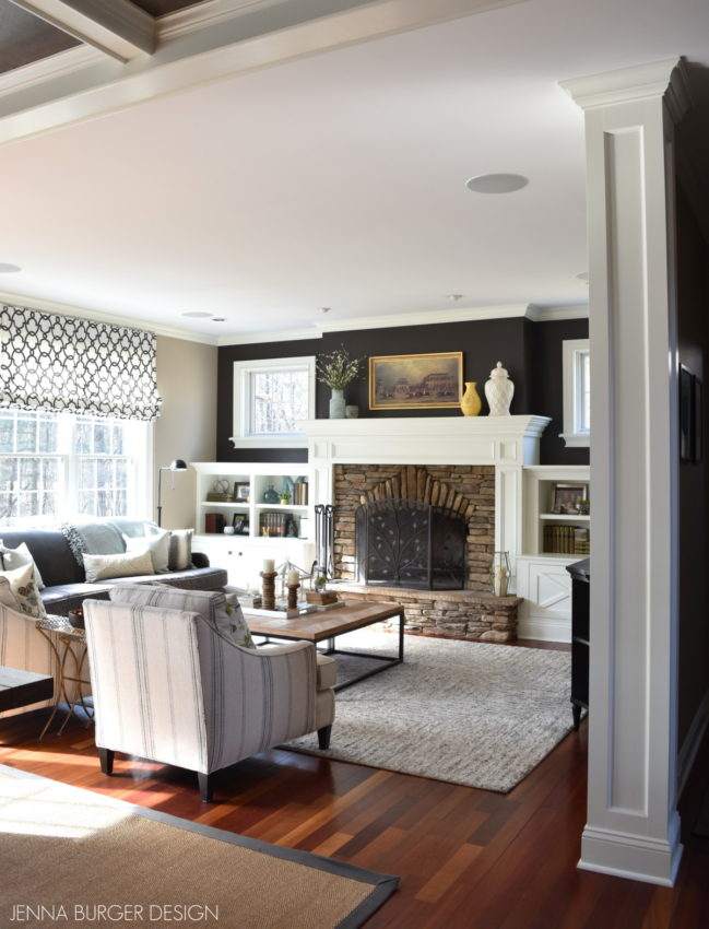 Transitional Living Room with shades of gray + lots of texture - Design by Jenna Burger Design, www.jennaburger.com