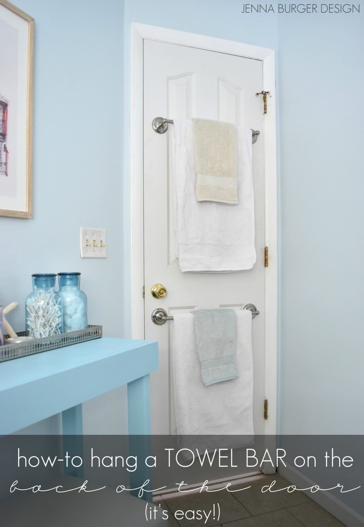 How-To mount a TOWEL BAR on a hollow core door to save on space & Back-of-the-Door Towel Bar - Jenna Burger pezcame.com