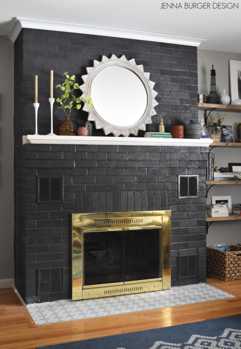 Do It Yourself: Painting a Brick Fireplace; Details on www.JennaBurger.com on how to paint a brick fireplace black!