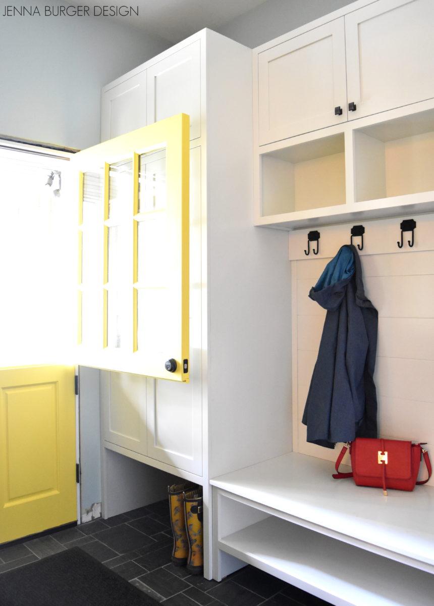 Mudroom with built-in and dutch door