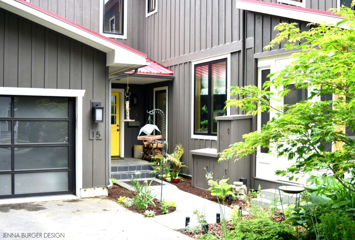 Exterior Renovation with new paint color, yellow dutch door, and screened porch.  Remodel designed by Jenna Burger Design, www.JennaBurger.com